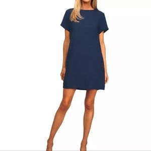 LULUS Shift & Shout Navy Blue Shift Dress K10